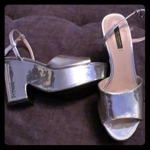 Zara Woman Silver Platforms